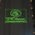 Hilton logo by laser