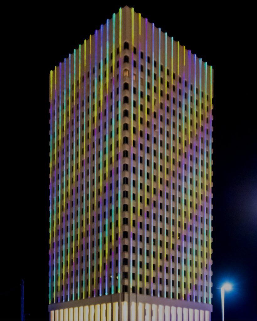 Lasers on building