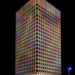 Laser illuminated building